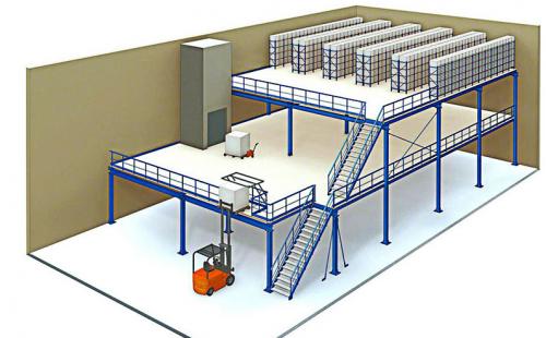 大型仓储货架阁楼式货架立体设计图展示